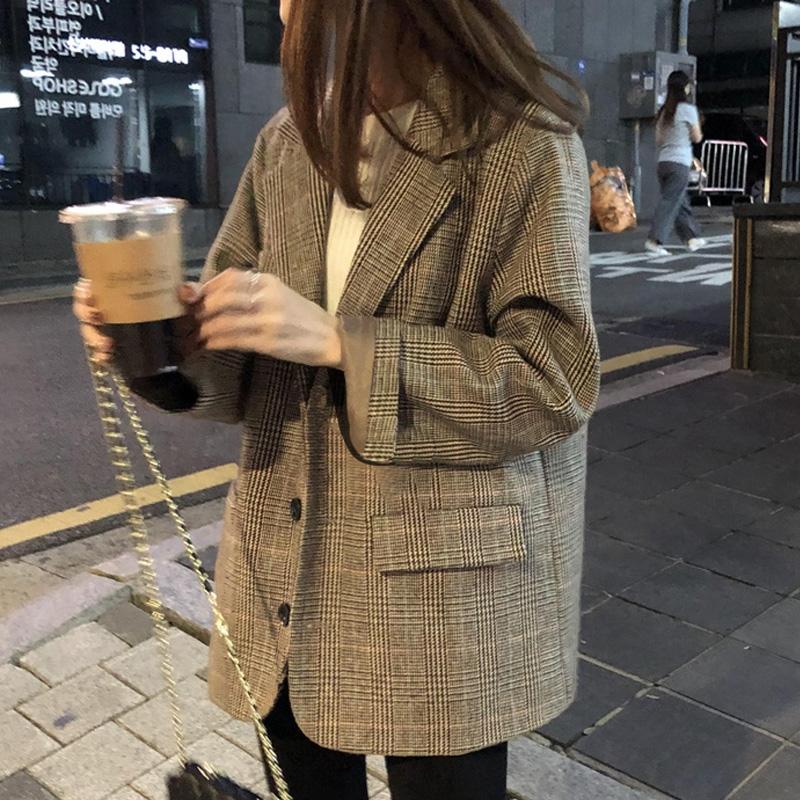 ポケット付き 体型カバー ゆったり チェック柄 長袖 韓国系 春秋 折襟 シングルブレスト スーツ オーバーサイズ アウター ライトアウター スプリングコート オーバーチェックコート 羽織 アウター
