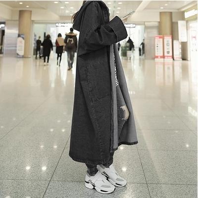 無地コットン長袖定番一般ボタンロング春秋フード付きカーディガン写真通りブラックブルートレンチコート