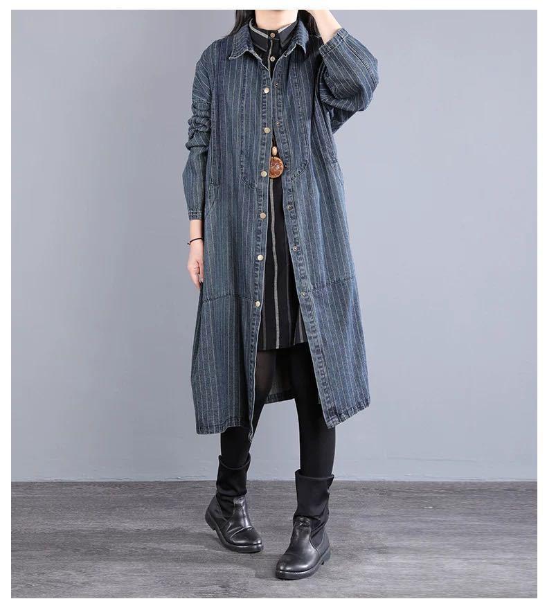ストライプ柄長袖ファッション一般切り替えロング春秋春秋折り襟シングルブレストトレンチコート