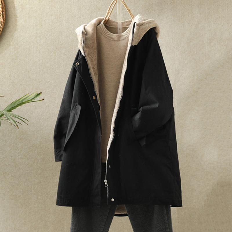 裏起毛 体型カバー ゆったり ポケット付き あたたか 暖か 無地 長袖 シンプル 秋冬 カーディガント レンチコート フード付き