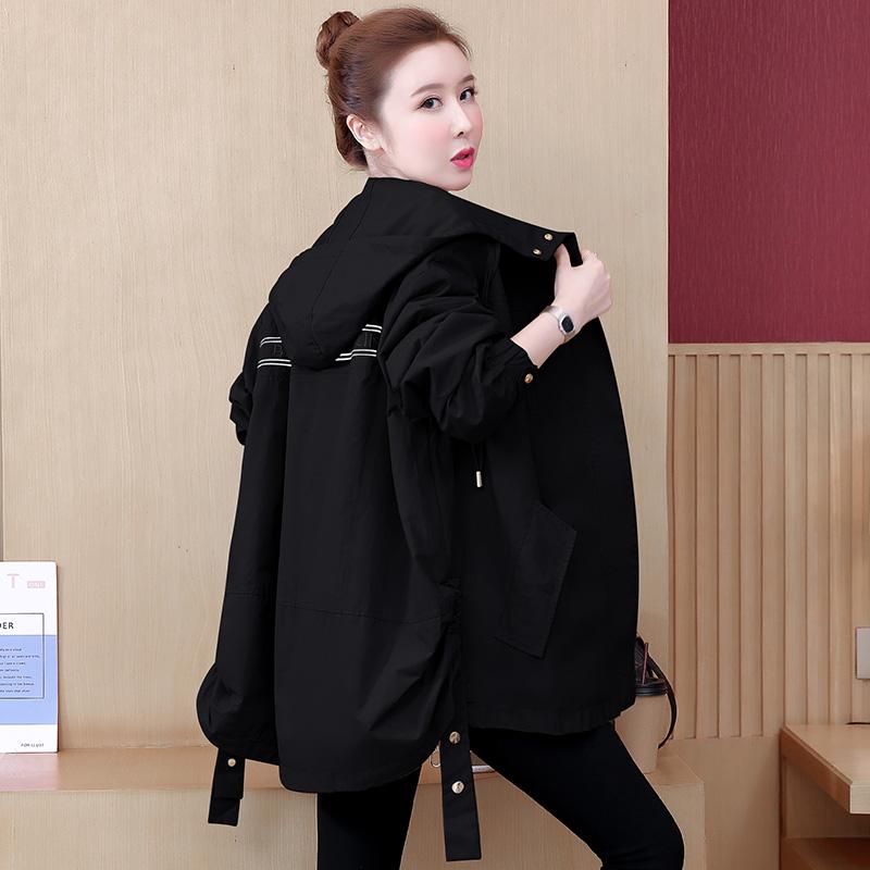 無地ポリエステル長袖韓国系一般切り替え膝上春秋フード付きジッパージャケット