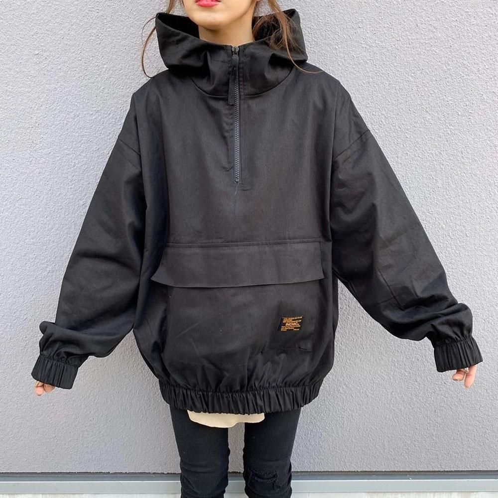 アルファベットポリエステル長袖ファッションカジュアル一般切り替えファスナー一般秋冬フード付きプルオーバージャケット