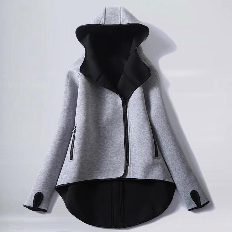 無地 長袖 シンプル 切り替え ショート丈 春秋冬 フード付き ジッパー ジャケット 体型カバー ゆったり オーバーサイズ アウター ライトアウター スプリングコート