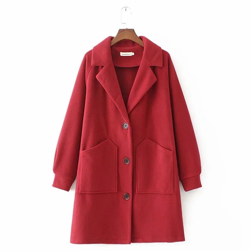 無地長袖シンプル定番ファッションカジュアルボタン秋冬折り襟シングルブレストスーツ