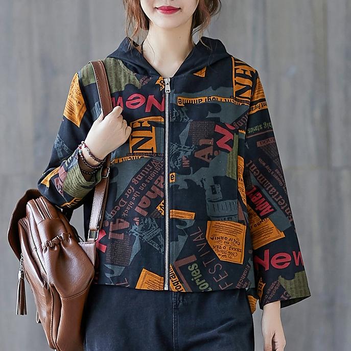 配色総柄長袖ファッションカジュアルファスナー春秋フード付きジッパージャケット