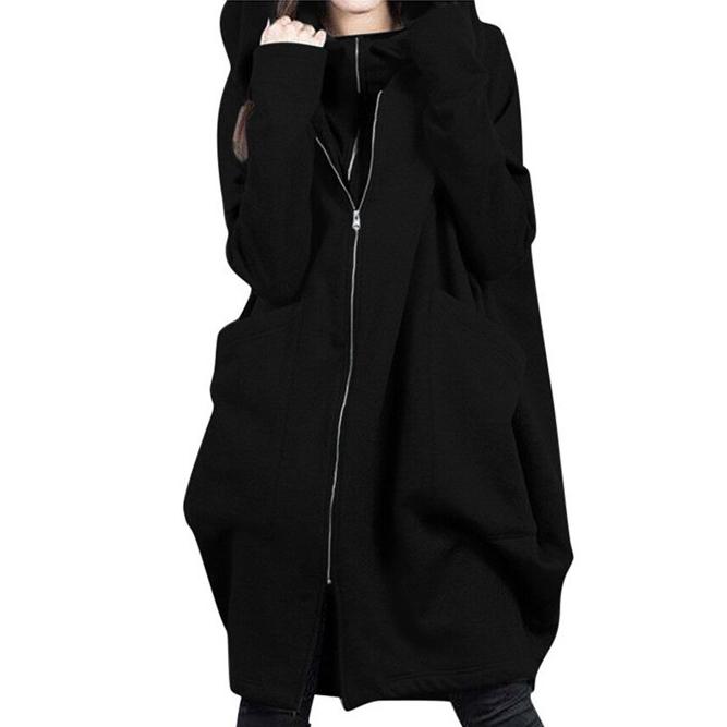 大きいサイズ 無地 長袖 ファッション ファスナー ロング 秋冬 フード付き ジッパー ジャケット 気高い コート オーバーサイズ アウター ライトアウター スプリングコート ジャンパー 体型カバー ゆった ポケット付き ロング 前開き カーデ 軽アウター トップス 羽織