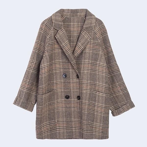 チェック柄ポリエステル長袖ファッション一般切り替え一般秋折り襟シングルブレスト写真通りスーツ