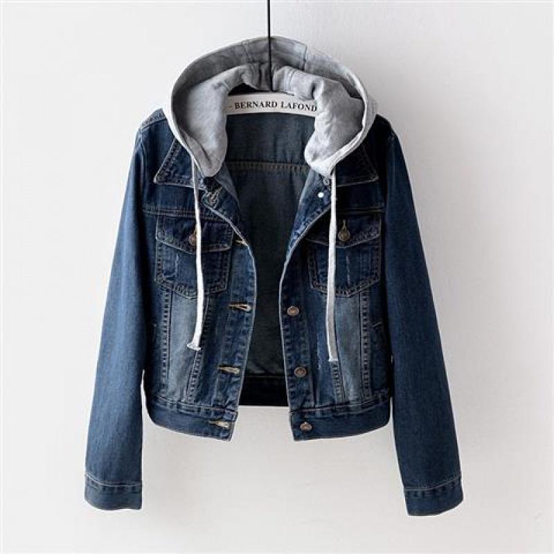 無地デニム長袖シンプルカジュアル一般なしショート丈春秋フード付きカーディガン写真通りジャケット