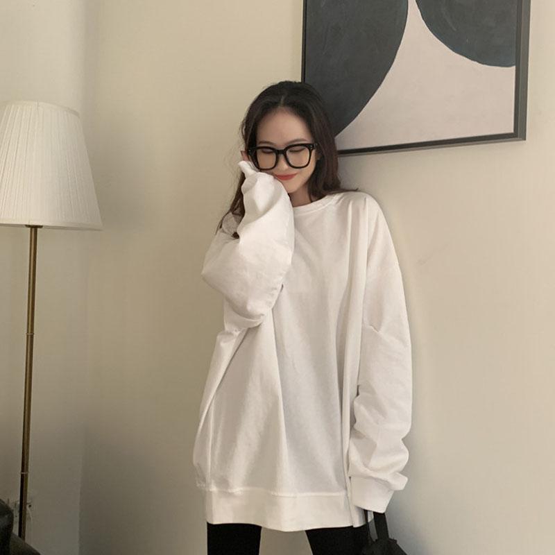 ストリート系 韓国風  流行り ベーシック 着痩せ 無地 長袖 カジュアル キャンパス 春秋 ラウンドネック プルオーバー パーカー セーター