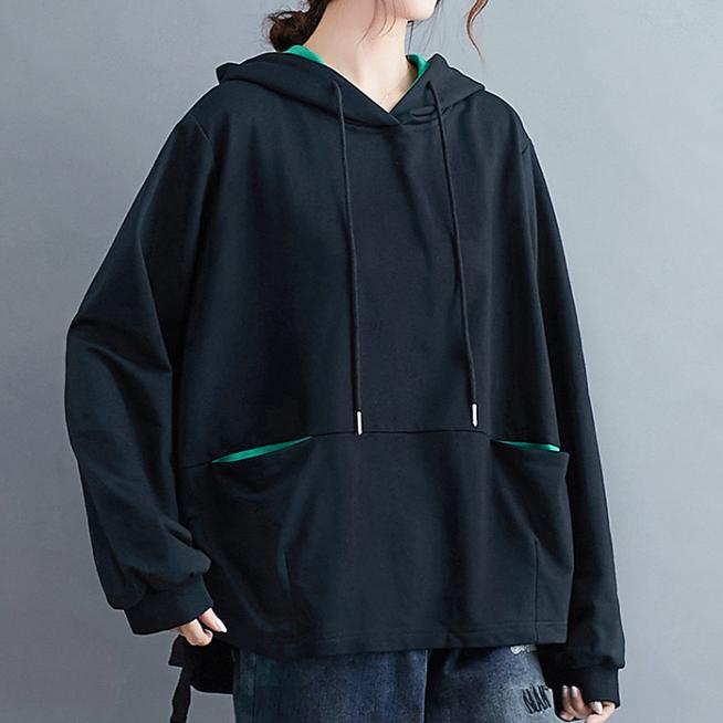 chic風 ストリート系 体型カバー ゆったり バイカラー ポケット付き 無地 長袖 シンプル カジュアル 春秋 フード付き プルオーバー パーカー