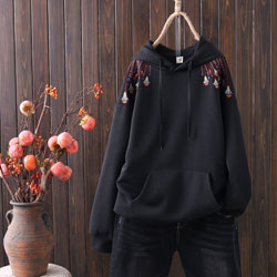 ポケット付き 若々しい 若く見える スウェット フーディー 長袖 カジュアル 刺繍 春秋冬 フード付き プルオーバー パーカー