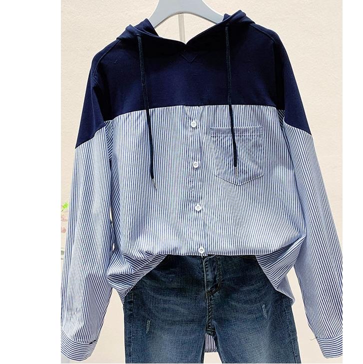 ストライプ柄長袖ファッションカジュアル一般ボタン一般秋春秋フード付きプルオーバーパーカー