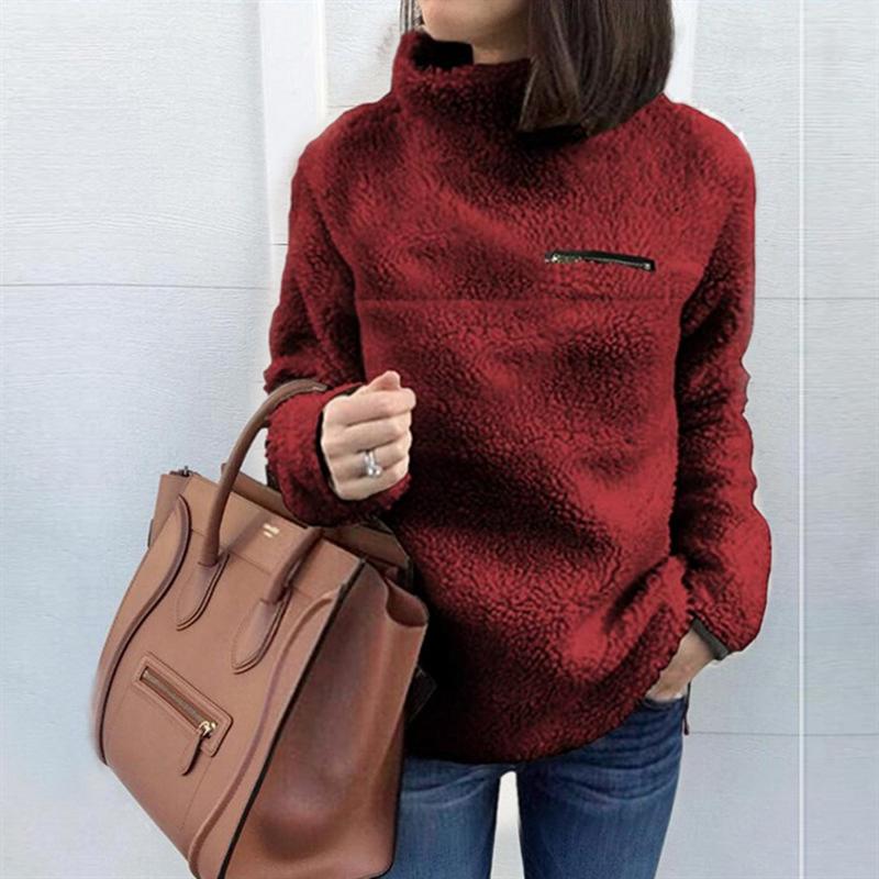 キレイめ かわいい ふわふわ 暖かい 着心地がいい 触り心地がいい 無地 長袖 シンプル ファッション 切り替え 秋冬 ハイネック プルオーバーパーカー