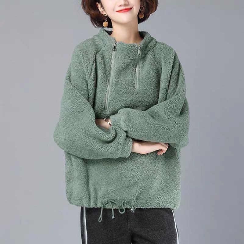 無地長袖ファッション一般切り替えファスナー一般冬秋冬スタンドネックプルオーバーパーカー