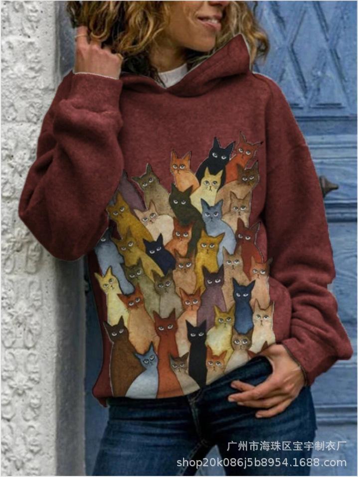 動物柄カートゥーン長袖シンプルスポーツファッションカジュアルキュート一般なし一般春秋秋冬フード付きプルオーバーパーカー
