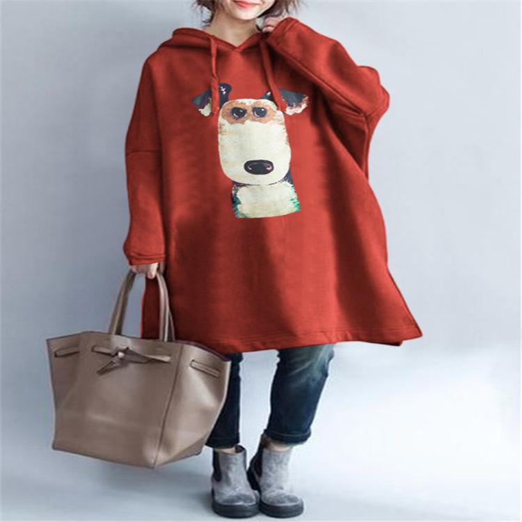 欧米ファッションワンちゃんプリントフード付きジッパーパーカー