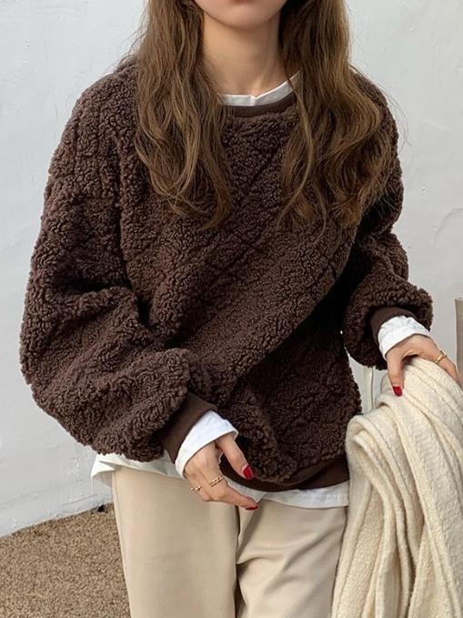 無地長袖シンプルギャザー飾りショート丈秋冬ラウンドネックプルオーバーパーカー