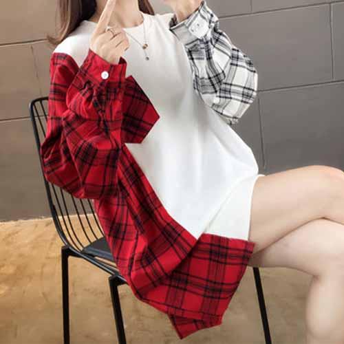 混合色 チェック柄 配色 長袖 カジュアル 韓国ファッション 切り替え ロング 春秋 ラウンドネック プルオーバー パーカー デザイン 体型カバー ゆったり クルーネック