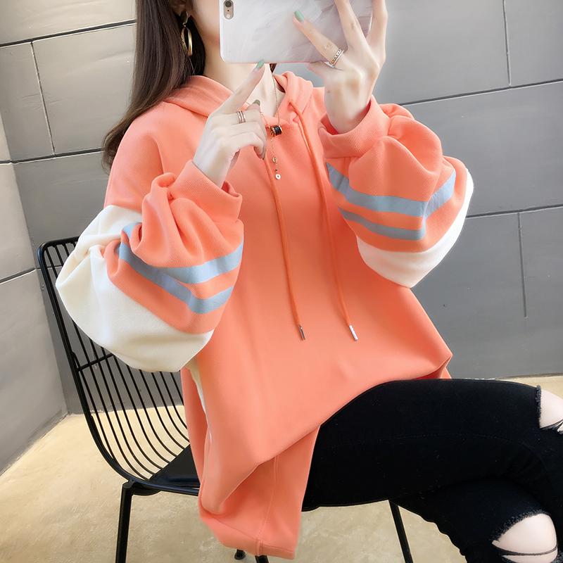 無地ポリエステル長袖シンプルファッションカジュアル通勤/OL韓国系一般なし一般春秋フード付きプルオーバー写真通りパーカー