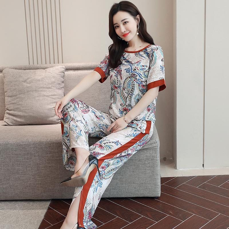 プリント合成繊維半袖ファッション一般切り替え一般春夏ラウンドネックプルオーバーカーキハイウエストなしセットアップ