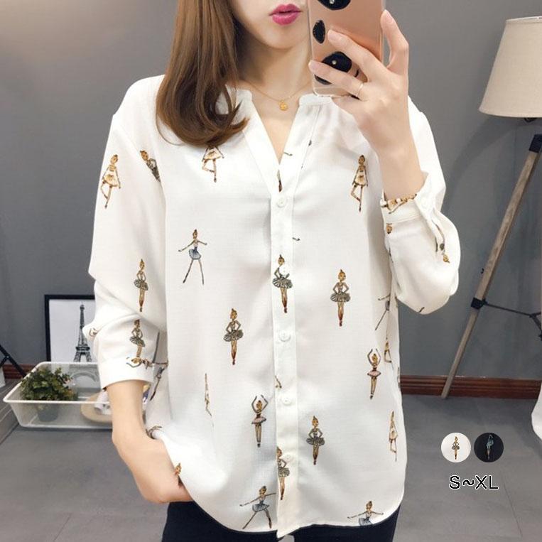 プリント 長袖 シンプル 韓国ファッション ボタン 春秋 Vネック シングルブレスト tシャツ ブラウス オフィス 体型カバー ゆったり 大人可愛い カッター スキッパー