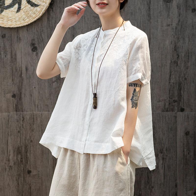 無地綿麻半袖森ガール一般刺繍切り替え一般夏スタンドネックボタンシャツ・ブラウス