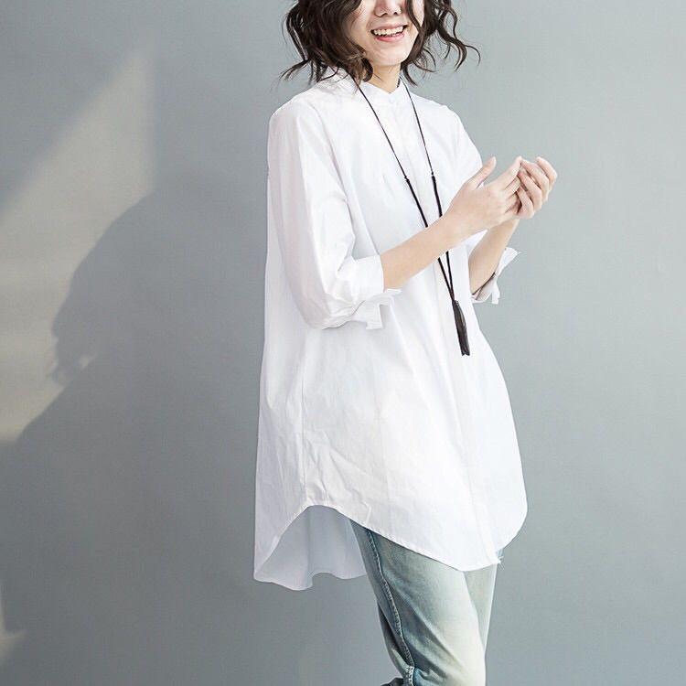 無地 七分袖 シンプル 切り替え リボン ギャザー飾り 春夏秋 スタンドネック シングルブレスト シャツ ブラウス 体型カバー ゆったり ファッション