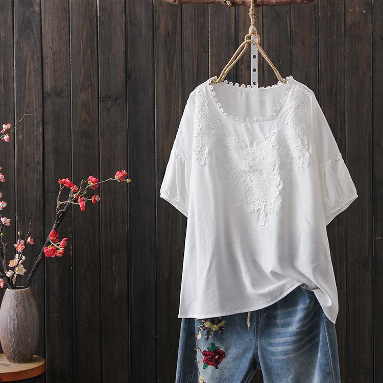 無地綿麻半袖ファッションカジュアルパフスリーブプリント切り替えショート丈春夏ラウンドネックプルオーバーシャツ・ブラウス