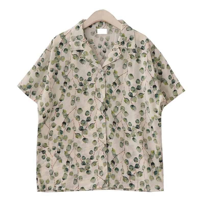 プリントポリエステル半袖シンプルカジュアルショート丈夏折り襟ボタンシャツ・ブラウス
