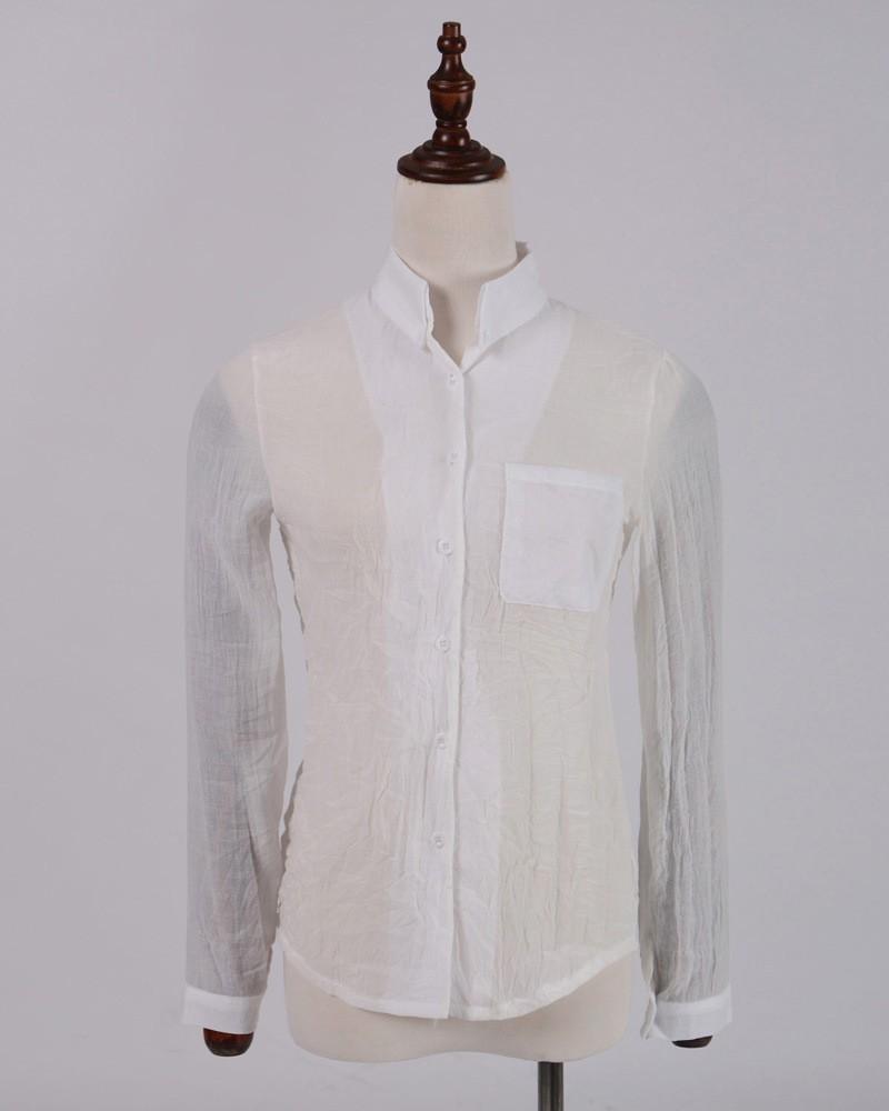 無地ポリエステル長袖シンプル一般なし一般春夏POLOネックシングルブレスト写真通りシャツ・ブラウス