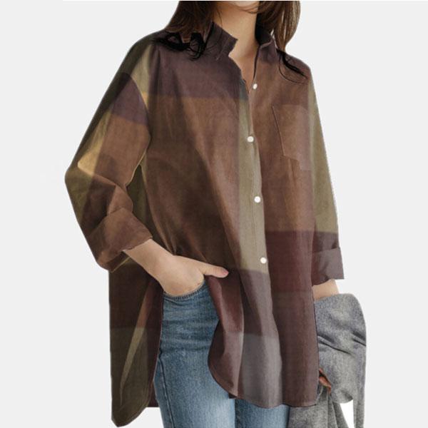 チェック柄配色長袖レトロロング春秋折襟シングルブレストシャツ・ブラウス