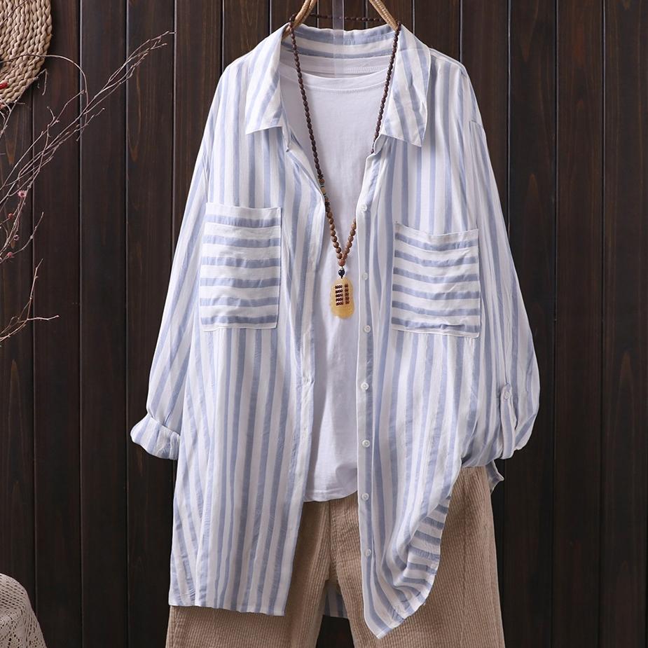 ストライプ柄長袖シンプルレトロ切り替えロング春秋折り襟シングルブレストシャツ・ブラウス