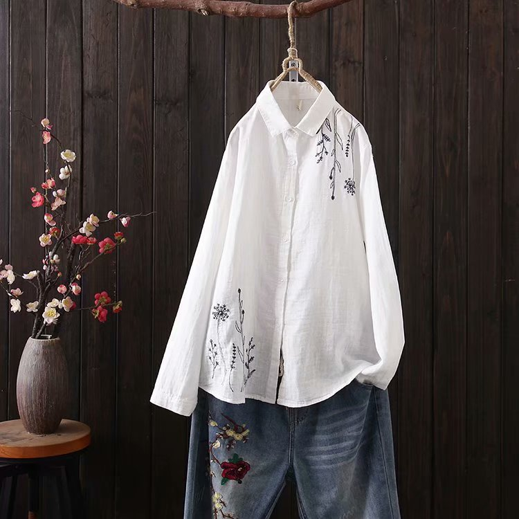 無地長袖シンプル刺繍春夏春秋折り襟シングルブレストシャツ・ブラウス