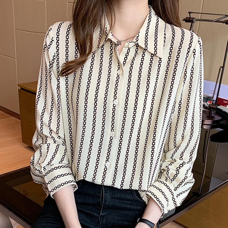 ストライプ柄長袖ファッション通勤/OLフェミニンボタンオールシーズンPOLOネックシングルブレストシャツ・ブラウス