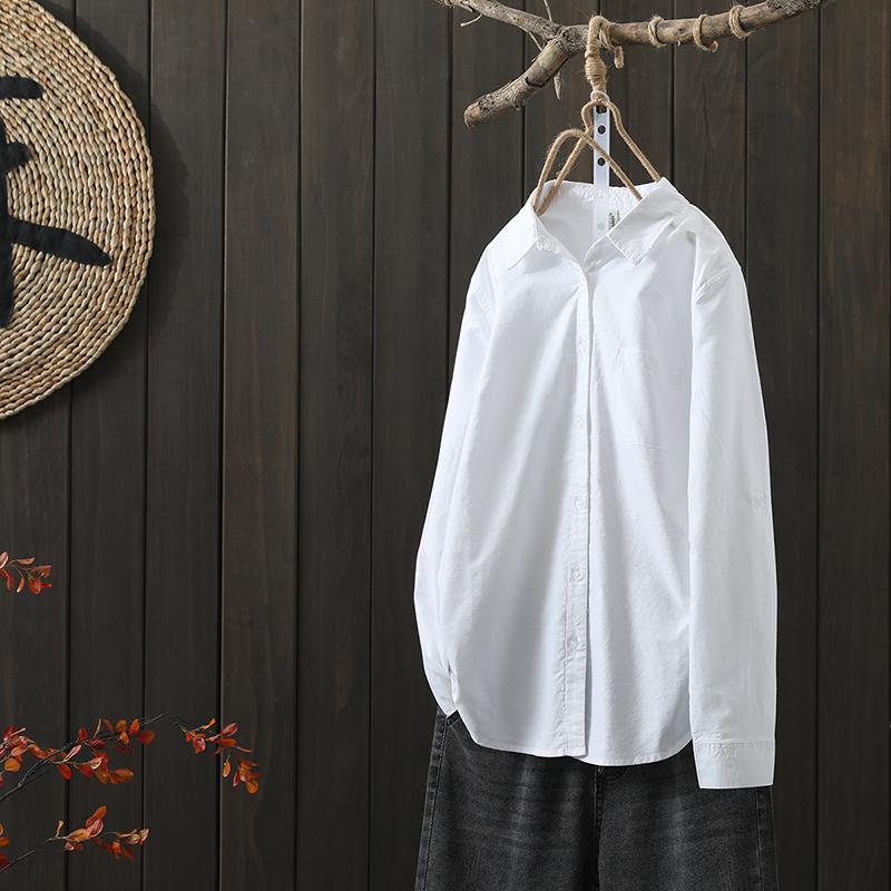 ストライプ柄長袖定番ファッション通勤/OL切り替え春秋折り襟シングルブレストシャツ・ブラウス