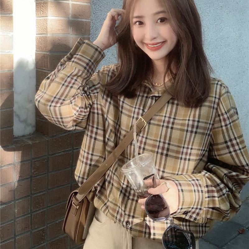 チェック柄長袖シンプルファッションカジュアル韓国系ボタン春秋折り襟シングルブレストシャツ・ブラウス