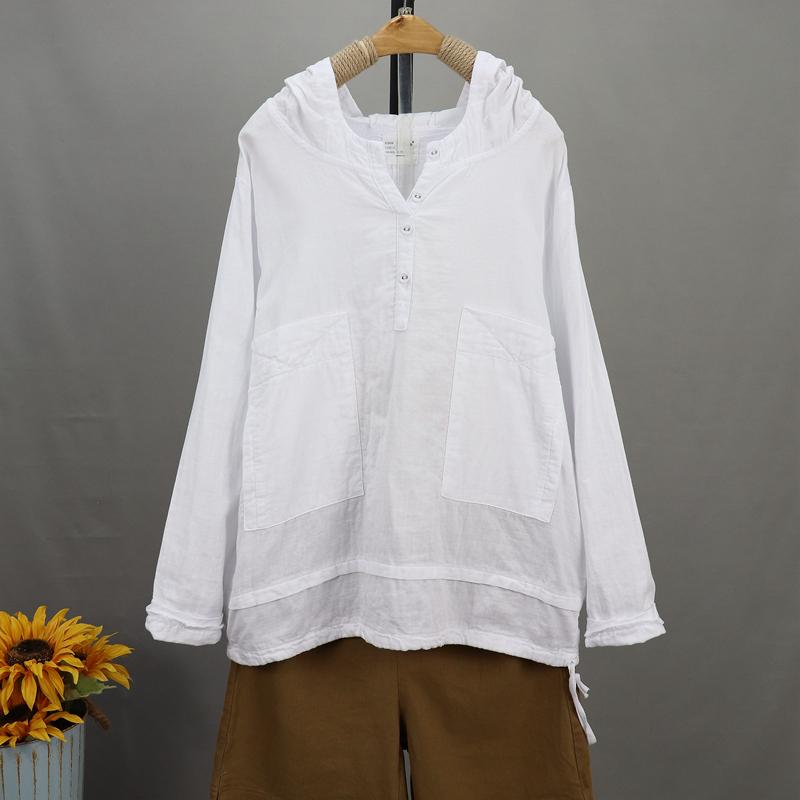 無地 長袖 カジュアル 切り替え 春秋 フード付き プルオーバー シャツ ブラウス デザイン 体型カバー ゆったり 抜け衿