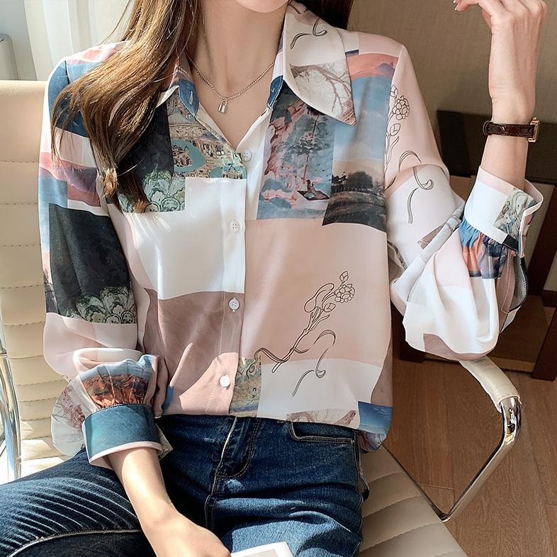 プリント長袖ファッション通勤/OLレトロプリントボタンオールシーズンPOLOネックシングルブレストシャツ・ブラウス