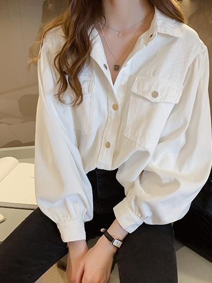無地長袖シンプルファッションカジュアル通勤/OLレトロ韓国系ボタン春秋POLOネックシングルブレストシャツ・ブラウス
