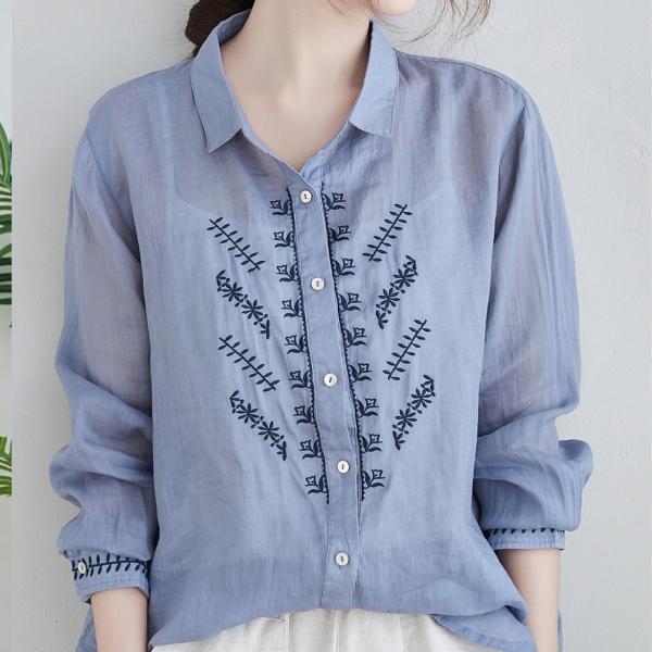 無地長袖シンプル刺繍春秋折り襟シングルブレストシャツ・ブラウス