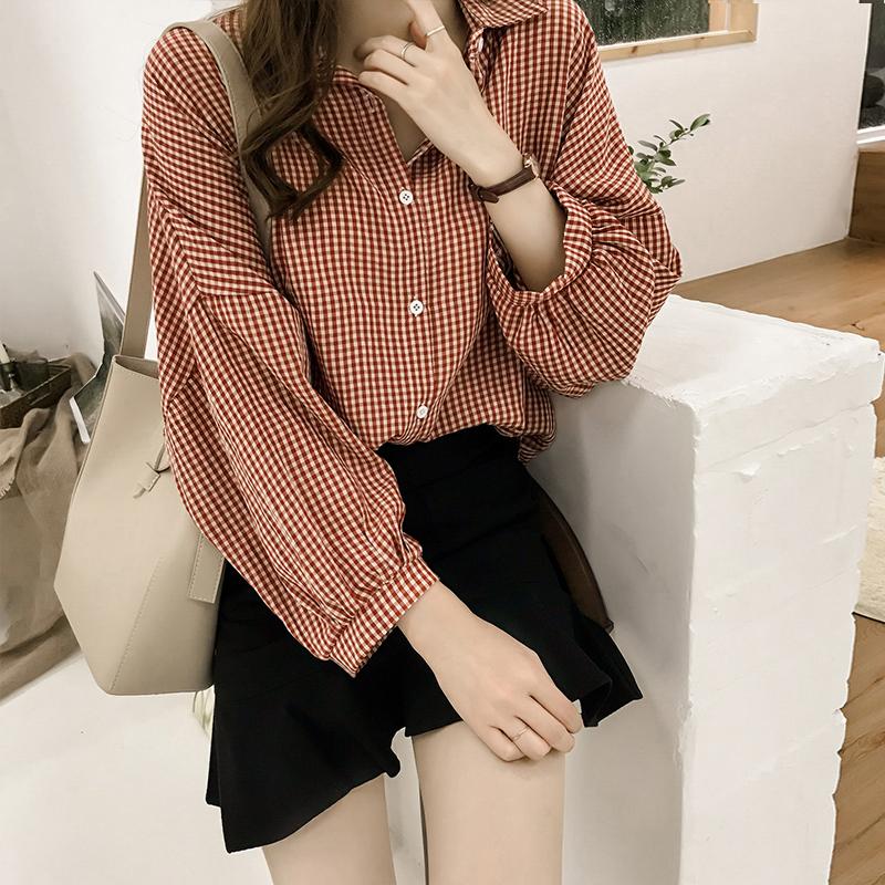 しなやかな落ち感 通勤 chic風 チェック柄 長袖 ファッション レトロ 韓国系 パフスリーブ ボタン 春 夏 折襟 シングル ブレスト シャツ・ブラウス