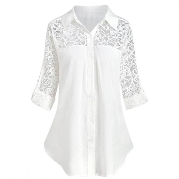 無地長袖エレガント透かし彫り切り替えボタンロング春夏折り襟シングルブレストロマンチックシャツ・ブラウス