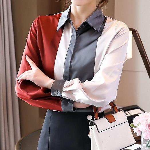 配色長袖シンプル通勤/OLフェミニン春秋折襟シングルブレストシャツ・ブラウス