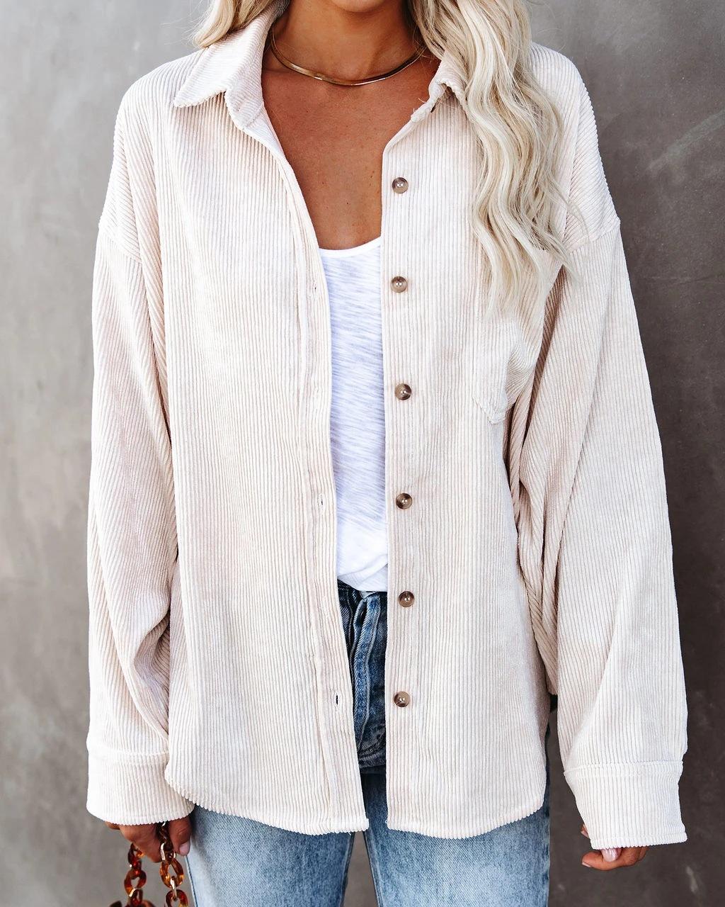 無地長袖シンプルボタンショート丈春秋折り襟シングルブレストシャツ・ブラウス