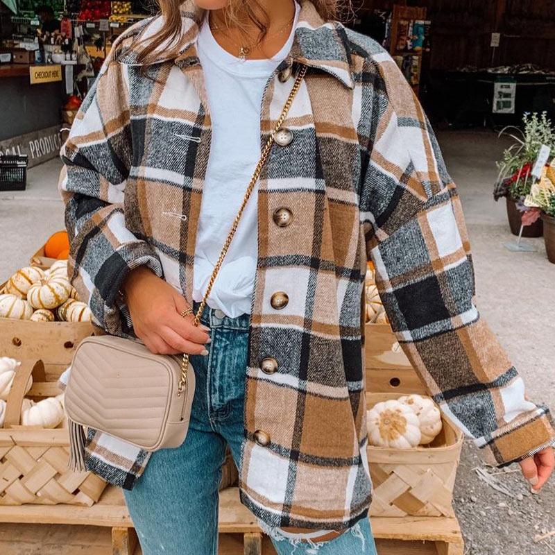 チェック柄ポリエステル長袖シンプル定番ファッションボタン春秋折襟ボタンカーディガン