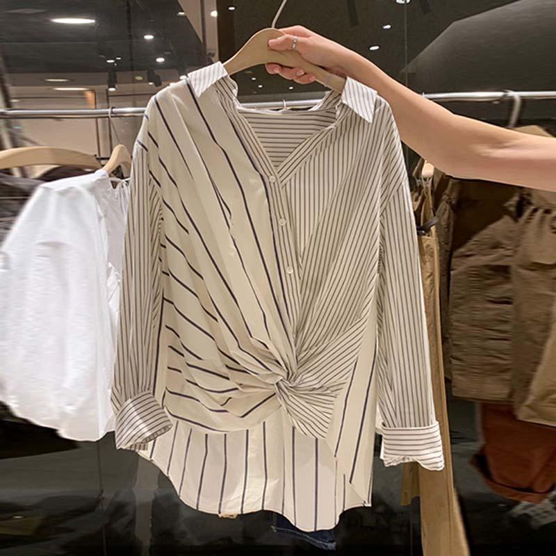 ストライプ柄ポリエステル長袖シンプル切り替えショート丈春秋折り襟シングルブレストシャツ・ブラウス