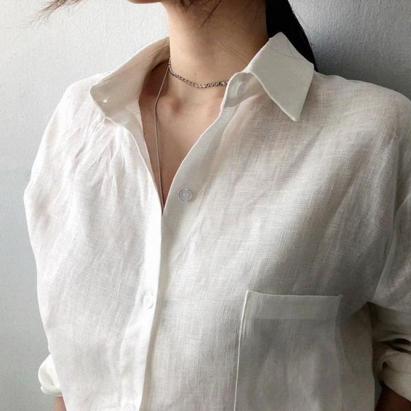 無地長袖シンプル通勤/OLボタン春夏折り襟シングルブレストシャツ・ブラウス