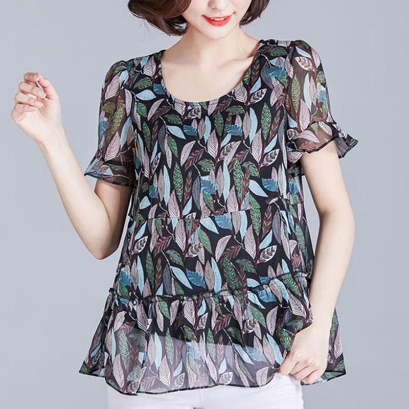 プリント半袖シンプルファッションカジュアル一般切り替え一般春夏秋ラウンドネックプルオーバーシャツ・ブラウス