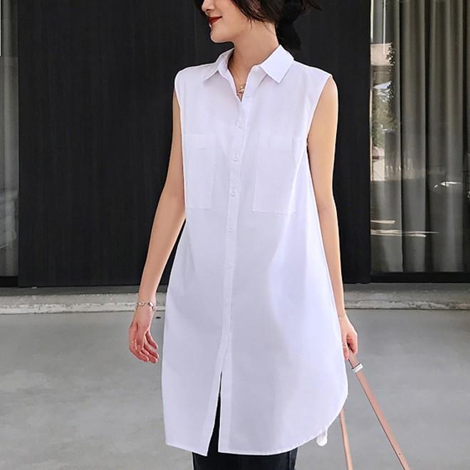無地ノースリーブシンプルファッションノースリーブボタンロング春夏折り襟ボタンシャツ・ブラウス
