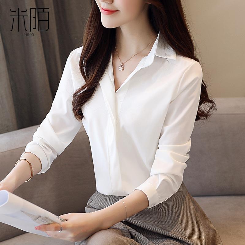 無地合成繊維長袖通勤/OL一般春秋折り襟シングルブレストシャツ・ブラウス